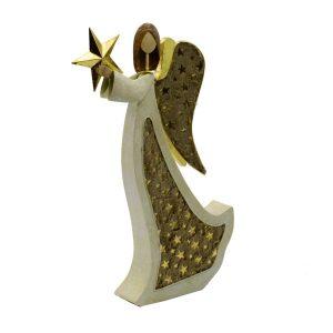 Decorazione Angelo in Metallo Crema Con Stella E Glitter Grande