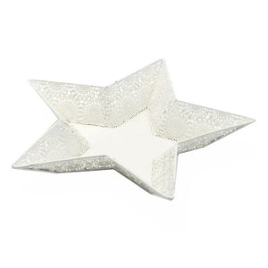 Decorazione Forma Stella In Metallo Bianco