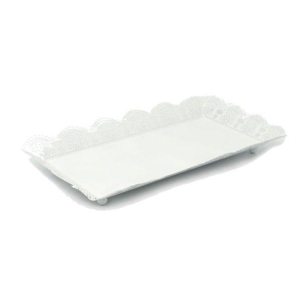 Vassoio In Metallo Bianco Rettangolare Grande