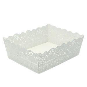 Vassoio Metallo Bianco Con Decorazioni Grande