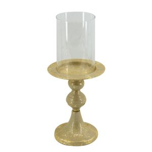 Portacandele Tondo In Metallo E Vetro Color Oro
