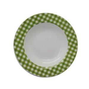 Piatto Fondo Fantasia Quadrata Verde