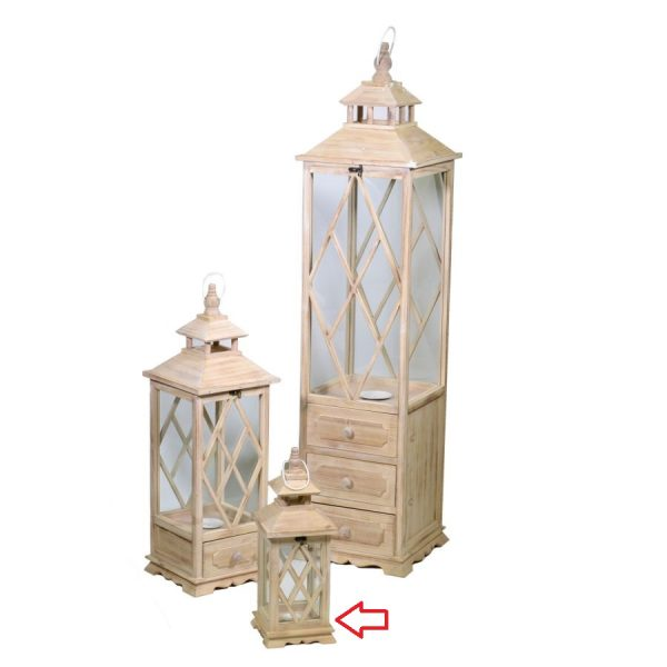 Lanterna In Legno Color Naturale Quadrata Piccola