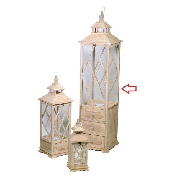 Lanterna In Legno Color Naturale Quadrata Con Cassetti Grande