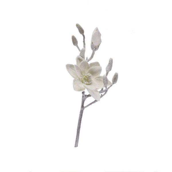 Decorazione Ramo Magnolia Bianco Neve Piccolo