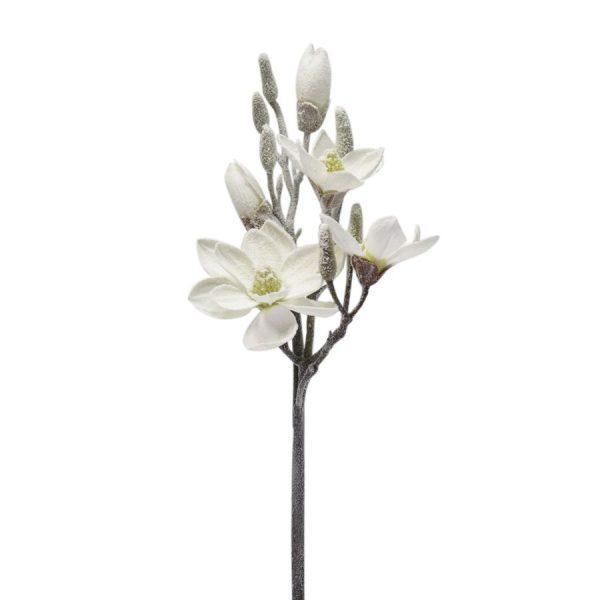 Decorazione Ramo Magnolia Bianco Neve Grande