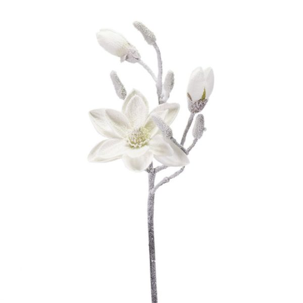 Decorazione Ramo Magnolia Bianco Neve Medio