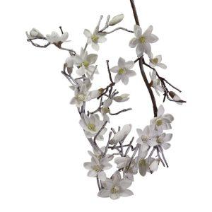 Decorazione Ramo Magnolia Bianco Neve Lungo