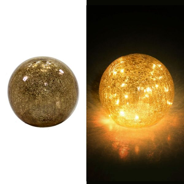 Lampada Sferica LED In Vetro Argento e Oro Piccola