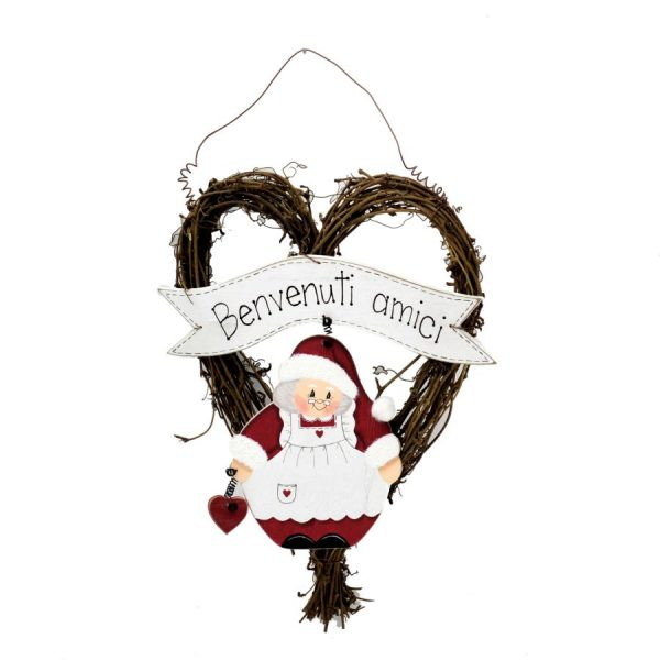Decorazione In Legno Mamma Natale Con Cuore e Scritte