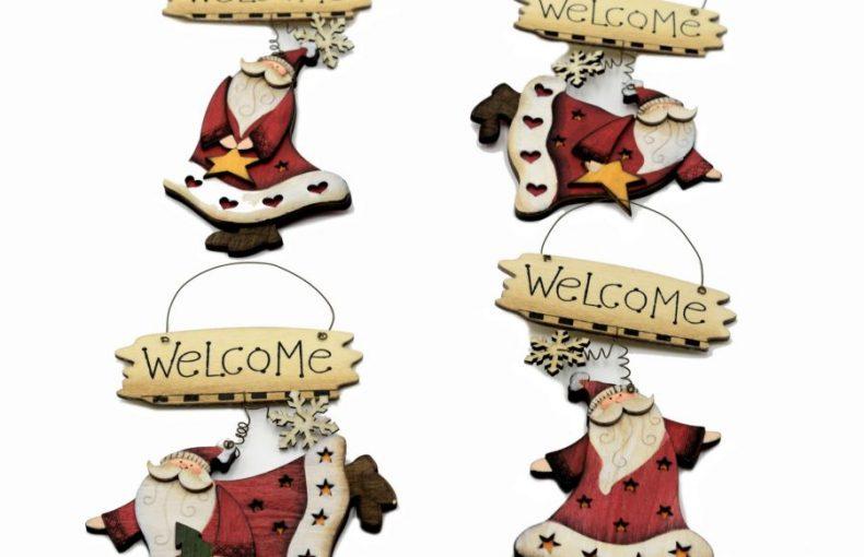 Targhetta In Legno Babbo Natale Con Scritta 4 Fantasie