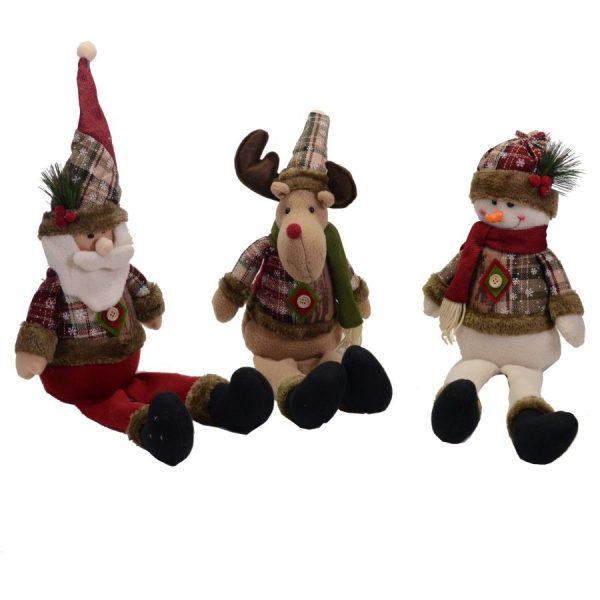 Pupazzi In Tessuto Fantasia Renna, Pupazzo di Neve Babbo Natale