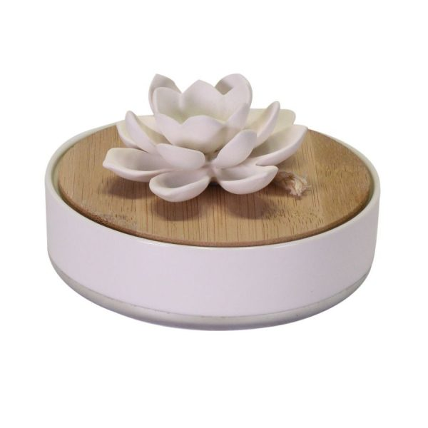 Diffusore Rotondo In Gesso E Ceramica Bianco Argento Con Ninfea