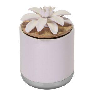 Diffusore Cilindrico In Gesso E Ceramica Bianco Argento Con Ninfea