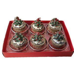 Confezione Candele T-light Albero Di Natale 6 pz