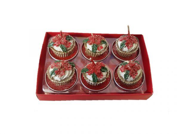 Confezione Candele T-Light Stella Di Natale 6 pz