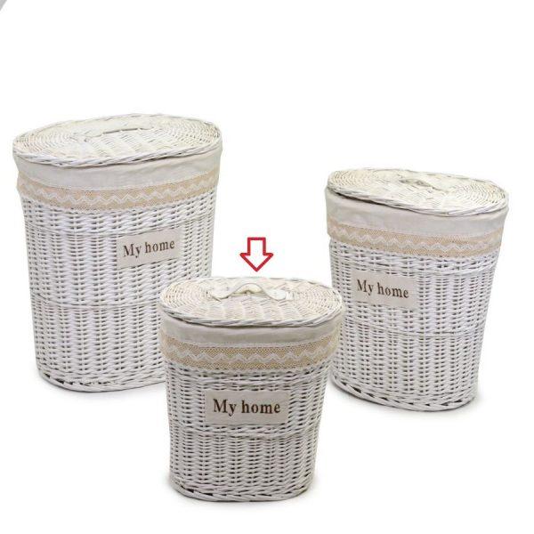 Cestone In Vimini Bianco Ovale Linea Orietta Piccolo