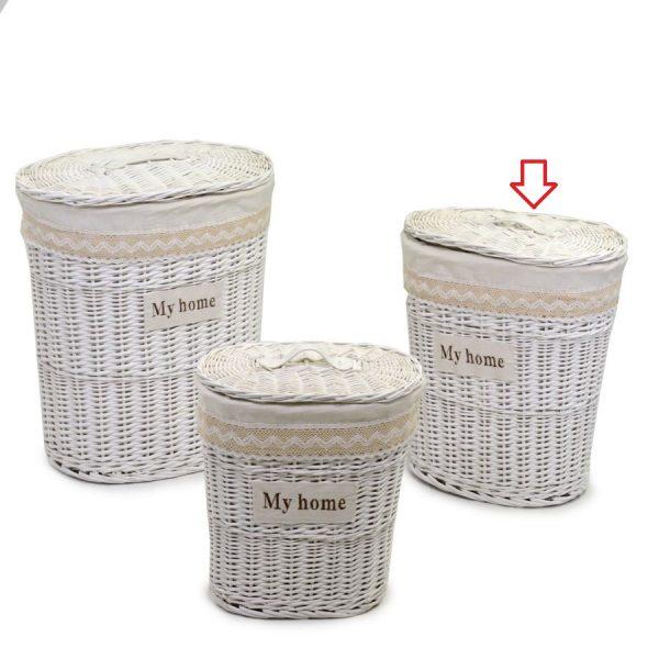 Cestone In Vimini Bianco Ovale Linea Orietta Medio