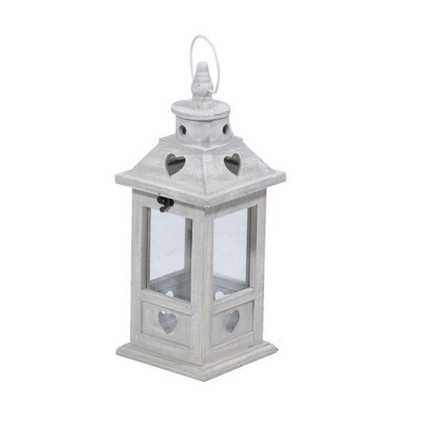 Lanterna In Legno Grigio Con Cuore