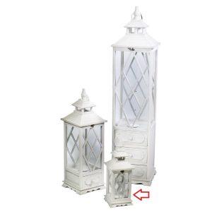 Lanterna In Legno Color Bianco Quadrata Piccola