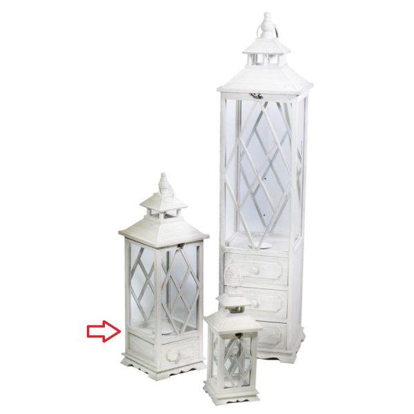Lanterna In Legno Color Bianco Quadrata Con Cassetto Media