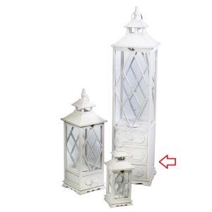 Lanterna In Legno Color Bianco Quadrata Con Cassetti Grande
