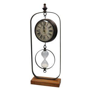 orologio in metallo con clessidra e base in legno
