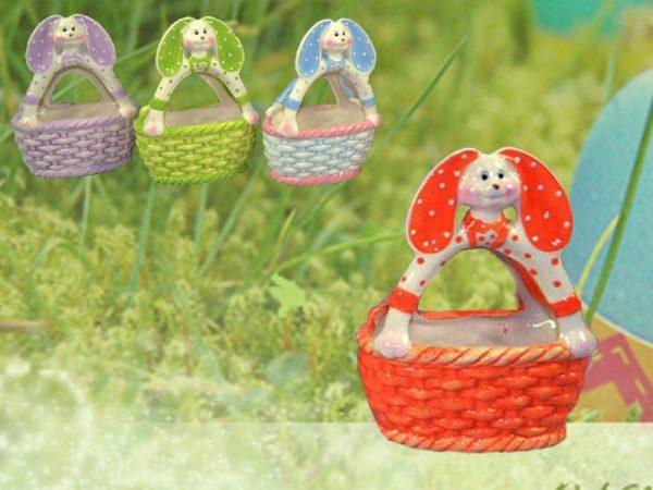 Cestino In Ceramica Coniglietto 4 Colori