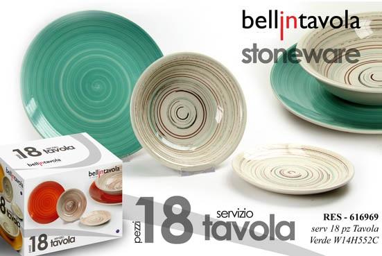 Set Piatti 18 pz In Ceramica Verde Fantasia Righe