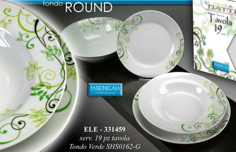 Set Piatti In Porcellana 19pz Decoro Verde