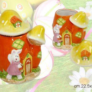 Biscottiera In Ceramica A Fungo Decorata