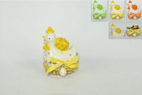 Cesto Ovale In Ceramica Con Chioccia E Uovo
