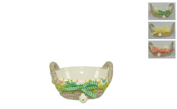 Cestino Ovale In Ceramica Pasqua