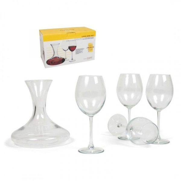 Set Vino 5 Pezzi: 4 Bicchieri Con Decanter