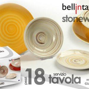 Set Piatti In Ceramica 18 pz Giallo Fantasia Righe