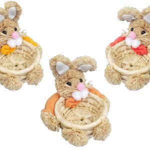 Cestino Portauova In Paglia Con Coniglietti