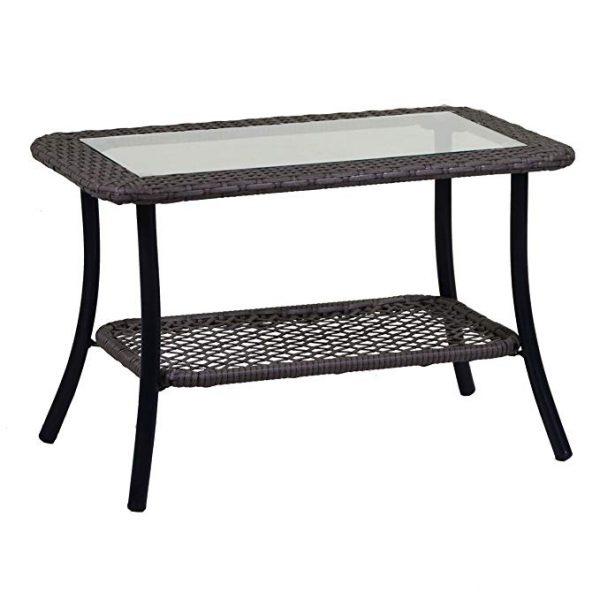 Tavolino In Polyrattan Grigio Linea Providence