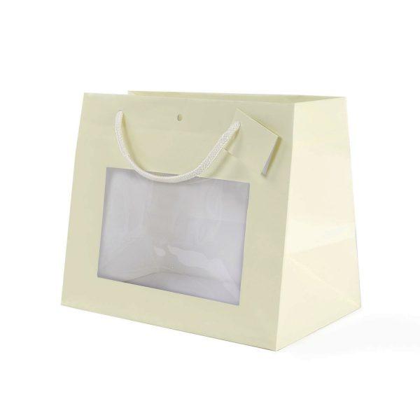 Shopper Piccola In Carta Color Crema Con Finestra