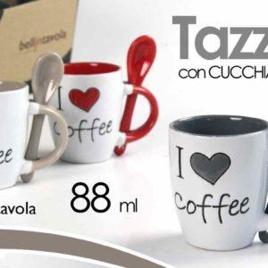 Set 6 Tazzine I Love Coffee Con Cucchiaino