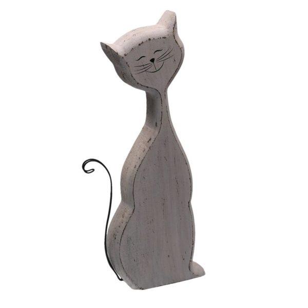 Gatto In Legno Con Coda Linea Miao