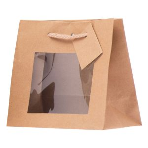 Shopper Grande In Carta Color Avana Con Finestra