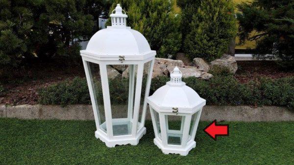Lanterna In Legno Esagonale Bianca