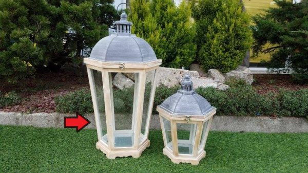 Lanterna Naturale In Legno Esagonale Grande