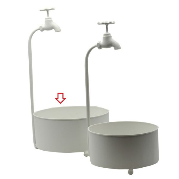 Portavaso Bianco In Metallo Fontana Grande