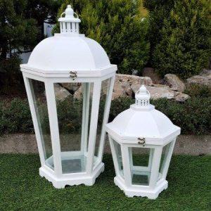 Lanterna In Legno Esagonale Bianca Grande