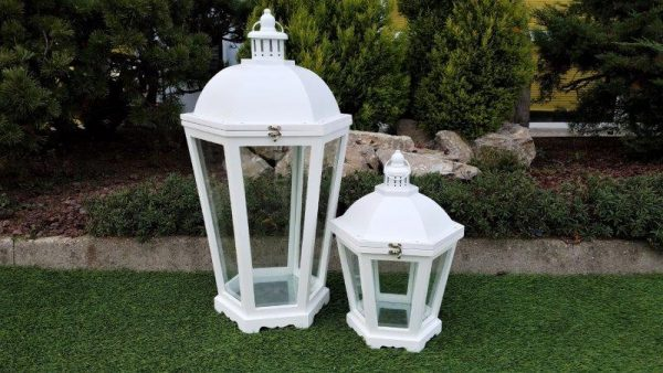 Lanterna In Legno Esagonale Bianca Piccola