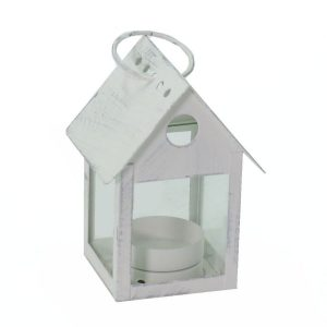 Lanterna Quadrata In Metallo Argentato Bianco Casetta