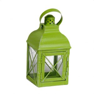 Lanterna Quadrata Verde In Metallo Con Manico