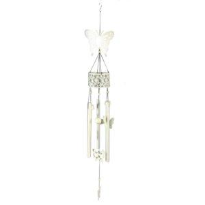 Campanello Bianco In Metallo Con Decorazione Farfalla