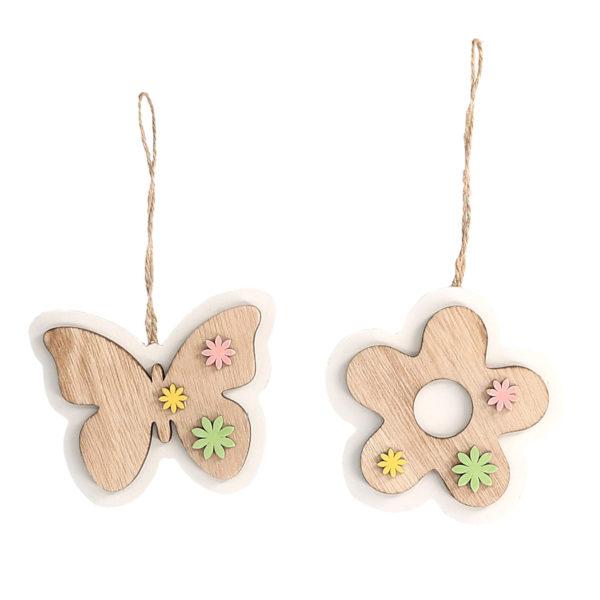 Set 3 Decorazioni In Legno Fantasia Farfalla E Fiore
